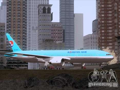 Boeing 777-2B5ER Korean Air для GTA San Andreas вид сзади слева