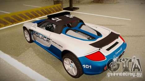 Porsche Carrera GT 2004 Police White для GTA San Andreas вид сзади