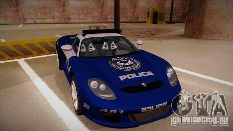 Porsche Carrera GT 2004 Police Blue для GTA San Andreas вид слева