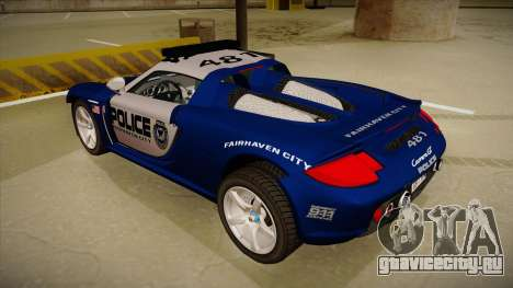 Porsche Carrera GT 2004 Police Blue для GTA San Andreas вид сзади