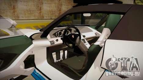 Porsche Carrera GT 2004 Police White для GTA San Andreas вид изнутри