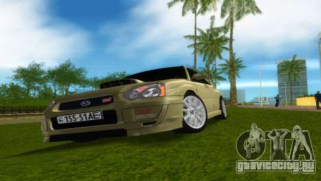 Subaru Impreza WRX STi для GTA Vice City вид изнутри