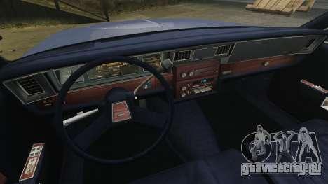 Chevrolet Caprice Brougham 1986 для GTA 4 вид изнутри