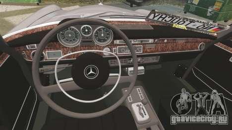 Mercedes-Benz 300 SEL 1971 для GTA 4 вид изнутри