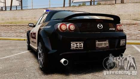 Mazda RX-8 R3 2011 Police для GTA 4 вид сзади слева