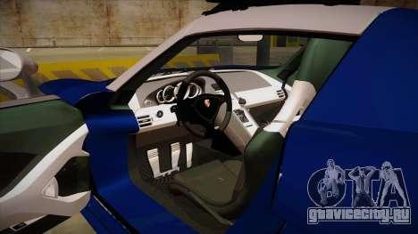 Porsche Carrera GT 2004 Police Blue для GTA San Andreas вид изнутри
