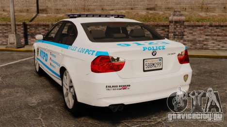 BMW 350i NYPD [ELS] для GTA 4 вид сзади слева