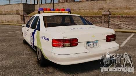 Chevrolet Caprice Police 1991 v2.0 N.o.o.s.e для GTA 4 вид сзади слева