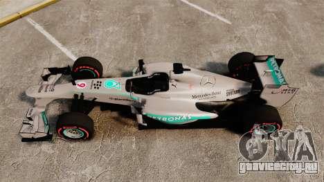 Mercedes AMG F1 W04 v6 для GTA 4 вид справа