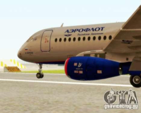 Sukhoi Superjet 100-95 Аэрофлот для GTA San Andreas вид слева