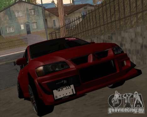 Mitsubishi Evolution VIII для GTA San Andreas вид слева