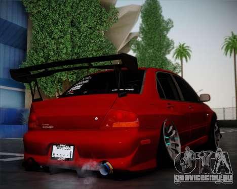 Mitsubishi Evolution VIII для GTA San Andreas вид сзади слева