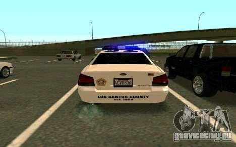 GTA V Sheriff Cruiser для GTA San Andreas вид слева