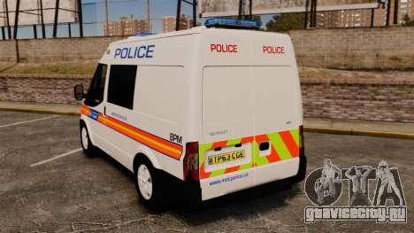 Ford Transit 2013 Police [ELS] для GTA 4 вид сзади слева