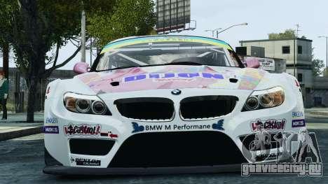 BMW Z4 GT3 2010 для GTA 4 вид снизу