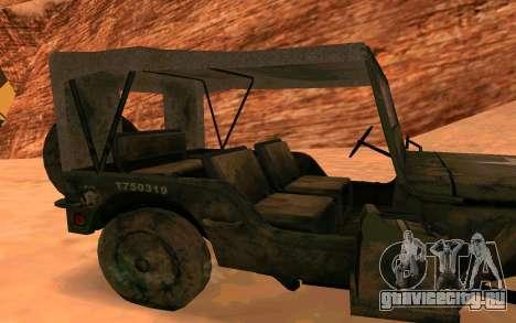 Willys MB v ю2 для GTA San Andreas вид сзади слева