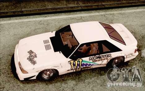 Ford Mustang SVT Cobra 1993 Drift для GTA San Andreas вид изнутри