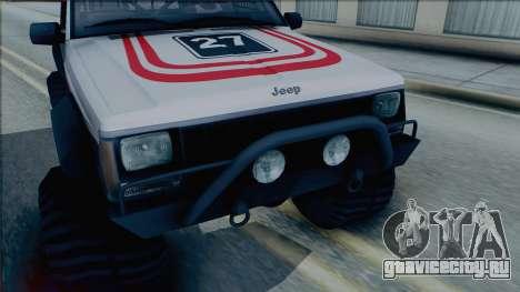 Jeep Cherokee 1984 Sandking для GTA San Andreas вид сзади слева