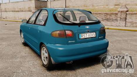 Daewoo Lanos PL 2001 для GTA 4 вид сзади слева