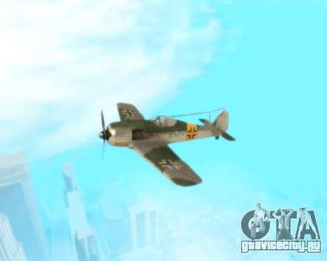 Focke-Wulf FW-190 F-8 для GTA San Andreas вид изнутри