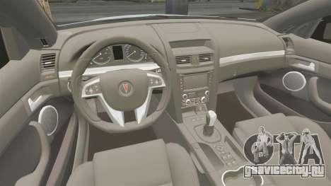 Pontiac G8 Sport Truck 2010 для GTA 4 вид изнутри