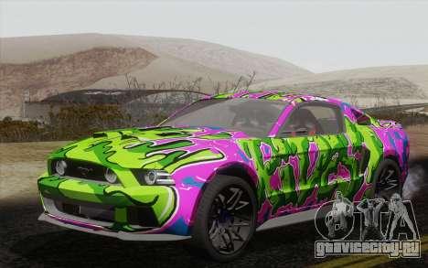 Ford Mustang GT 2013 для GTA San Andreas вид изнутри