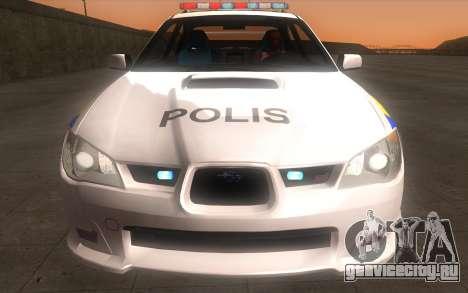 Subaru Impreza 2006 WRX STi Police Malaysian для GTA San Andreas вид сзади