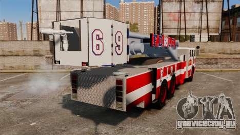 MTL Firetruck Tower Ladder FDLC [ELS-EPM] для GTA 4 вид сзади слева