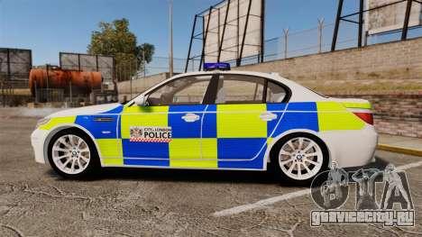 BMW M5 E60 City Of London Police [ELS] для GTA 4 вид слева
