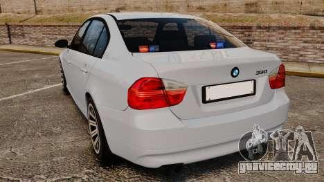 BMW 330i Unmarked Police [ELS] для GTA 4 вид сзади слева