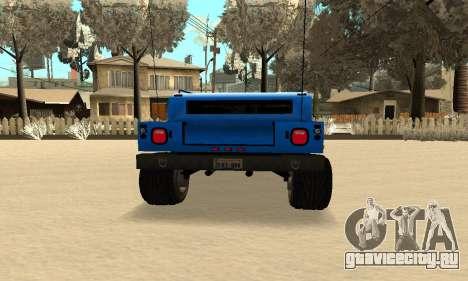 HUMMER H1 для GTA San Andreas вид сзади слева