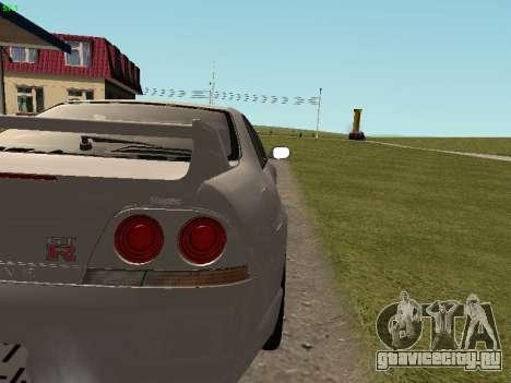 Nissan Skyline R33 GT-R для GTA San Andreas вид изнутри