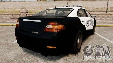 GTA V Vapid Steelport Police Interceptor [ELS] для GTA 4 вид сзади слева