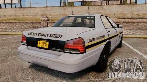GTA V Vapid Police Cruiser Scheriff [ELS] для GTA 4 вид сзади слева