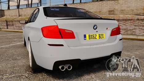 BMW M5 Unmarked Police [ELS] для GTA 4 вид сзади слева