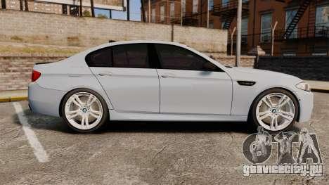 BMW M5 Unmarked Police [ELS] для GTA 4 вид слева