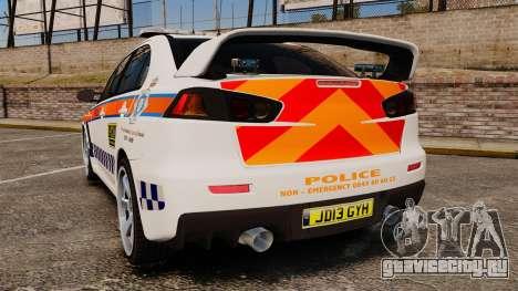 Mitsubishi Lancer Evo X Humberside Police [ELS] для GTA 4 вид сзади слева