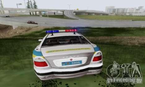 ГАЗ 3111 Мiлiцiя Украины для GTA San Andreas вид сзади