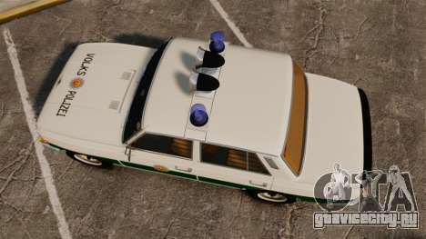 Wartburg 353 W Deluxe Polizei для GTA 4 вид справа