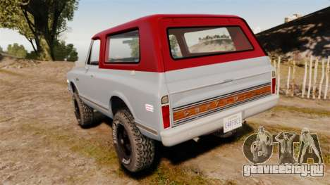 Chevrolet K5 Blazer для GTA 4 вид сзади слева