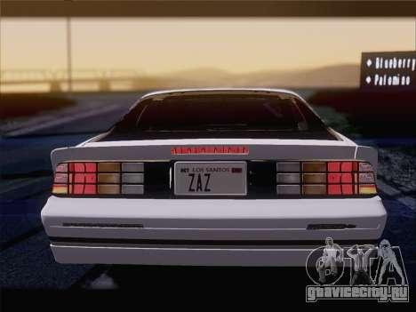 Chevrolet Camaro IROC-Z 1990 для GTA San Andreas двигатель