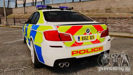 BMW M5 Greater Manchester Police [ELS] для GTA 4 вид сзади слева