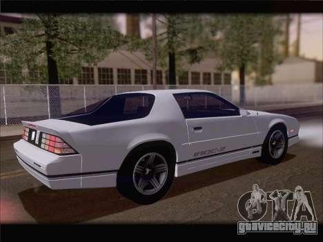 Chevrolet Camaro IROC-Z 1990 для GTA San Andreas вид снизу