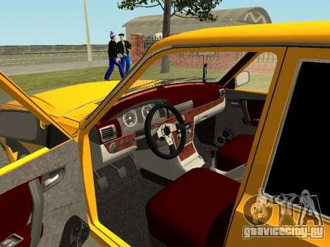 ГАЗ 31105 Волга для GTA San Andreas вид изнутри