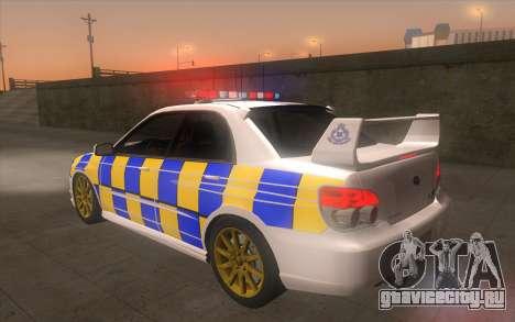 Subaru Impreza 2006 WRX STi Police Malaysian для GTA San Andreas вид слева