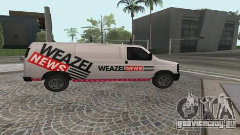 Newsvan Rumpo GTA 5 для GTA San Andreas вид слева