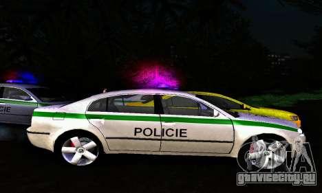 Skoda Superb POLICIE для GTA San Andreas вид слева