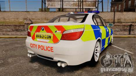 BMW M5 E60 City Of London Police [ELS] для GTA 4 вид сзади слева