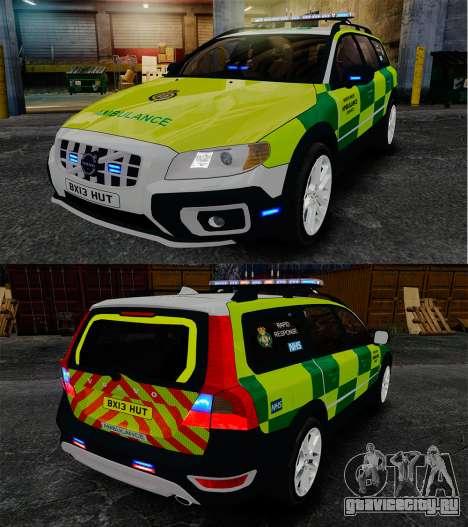Volvo XC70 Paramedic [ELS] для GTA 4 вид изнутри