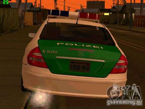 Mercedes-Benz  E500 Polizei для GTA San Andreas вид сзади слева